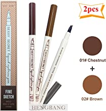 HENGBANG Eyebrow tattoo pen microblading-like 3d fork tip,Waterproof Microblading Eyebrow Pencil,Natural Looking Brows Effortlessly and Stays on All Day (Chestnut+Brown)