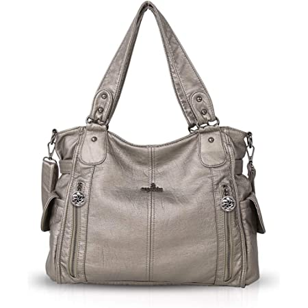 NICOLE & DORIS Damen Handtaschen Groß Retro Schultertasche Hobo Bag Leder Frauen Umhängetasche Beige