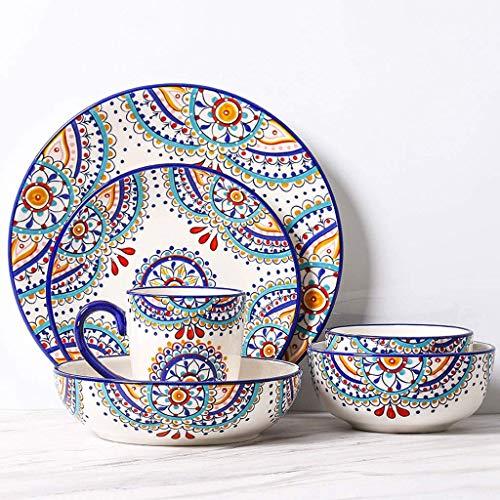 WECDS-E Juego de vajilla de cerámica mediterránea con patrón de 6 Piezas, Platos caseros Occidentales, combinación de Moda, Creatividad, Fruta, Plato Hondo, ensaladera