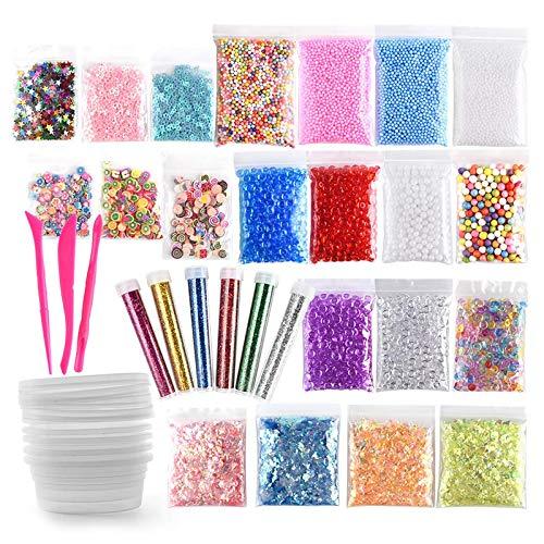 BANGSUN Schleimherstellungs-Set inklusive Fischglas-Perlen, Schaumstoffkugeln, Glitzer-Konfetti, 35 Stück