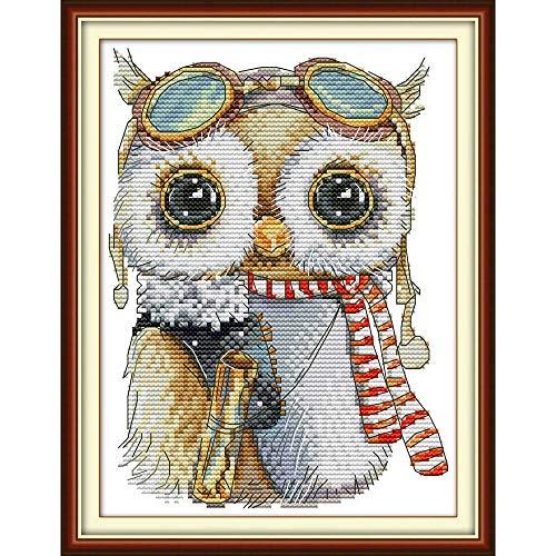 Everlasting Love Cute Owl Chinesisch Kreuzstich Kits Gestempelt Ökologische Baumwolle Gedruckt 14CT 11CT DIY Weihnachtshochzeitsdekoration Kreuzstich-Malerei (Color : DA278, Size : Printed cloth)