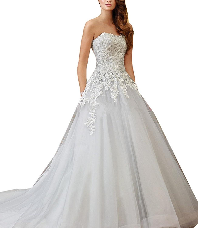 Ai Maria Women's Aline Net Yarn Lace Trailing The Bride Wedding Dresses