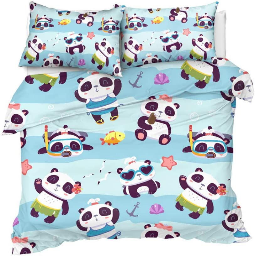 JCYUEDRN Infant Max 50% OFF Duvet Covers Cartoon Memphis Mall Animal - S Beds Panda Super