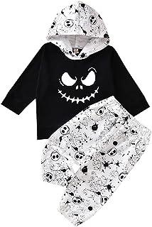 Toddler kids Baby Boy Girl Halloween Outfits Nightmare Hoodie Tops Sweatsuit Skull Pants Clothes Set