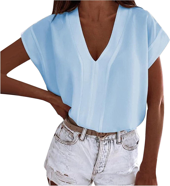 Women Short Sleeve Tops V-Neck Solid Printing Tshirt Casual Fashion Slim Loose Fit T-Shirt Blouse