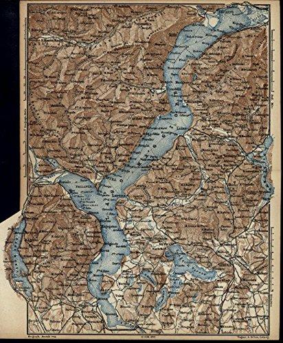 Lake Maggiore Cuvio Gavirate Rivers Italy 1879 very detailed small antique map