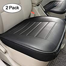Big Ant Edge Wrapping 2pc Car Front Seat Cushion Cover Pad Mat for Auto Supplies Office Chair with PU Leather(Black)