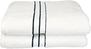 Superior Hotel Collection 900 Gram, 100% Premium Long-Staple Combed Cotton 2 Piece Bath Towel Set, White with Teal Border
