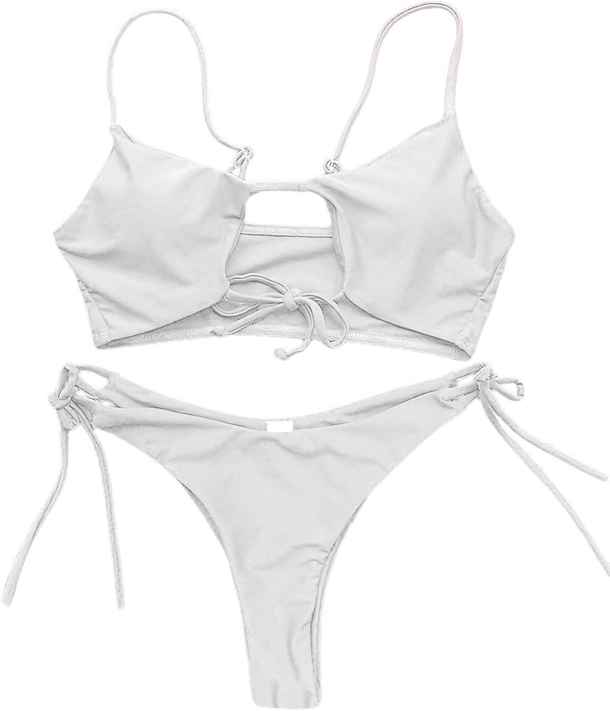 LilyCoco Women's Cut Out Tie Side Bottom Triangle Bikini Set Two Piece Thong Bathing Suit
