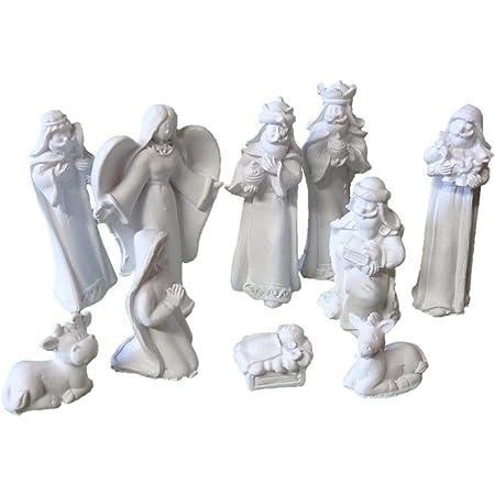 Krippenfiguren 10 teilig Set bunt bis 9,5 cm bunt Krippenset Krippe Figuren NEU