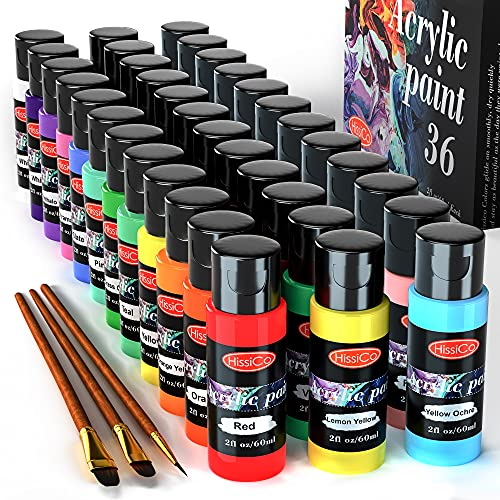 Acrylic Paint Set of 36 Colors 2fl oz 60ml Bottles,Non Toxic 36 Colors Acrylic Paint No Fading Rich Pigment for Kids Adults Artists Canvas Crafts Wood Painting