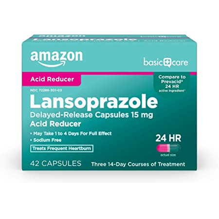 Amazon Basic Care Lansoprazole Delayed Release Capsules, 15 mg, Proton Pump Inhibitor, Treats Frequent Heartburn, Day or Night, 42 Count