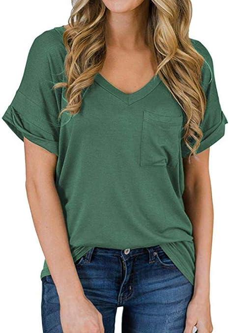 Weiliru Womens Summer V Neck Tri-Color Gradient Print Short Sleeves T-Shirt Tops Casual Blouse Tunic Tee