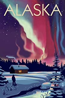 Alaska - Northern Lights and Cabin (12x18 Art Print, Wall Decor Travel Poster)