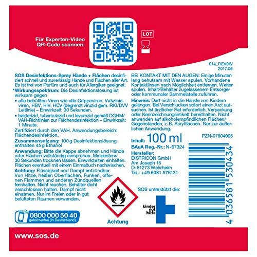 SOS Desinfektions-Spray: Desinfektionsmittel zur gründlichen und schnellen Hand- & Flächendesinfektion, 2 x 100ml - 4