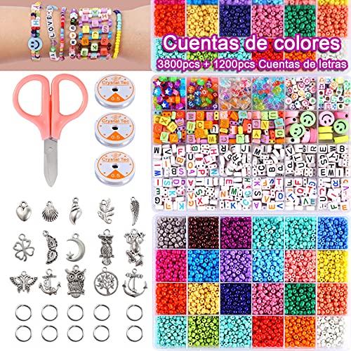 Cuentas de Colores Para Hacer Collares Pulseras,4 mm,3800 Cuentas de Colores en 24 Colores,1200 Cuentas de letras de doble línea,5000 Piezas para hacer pulseras, brazaletes, collares y joyas.