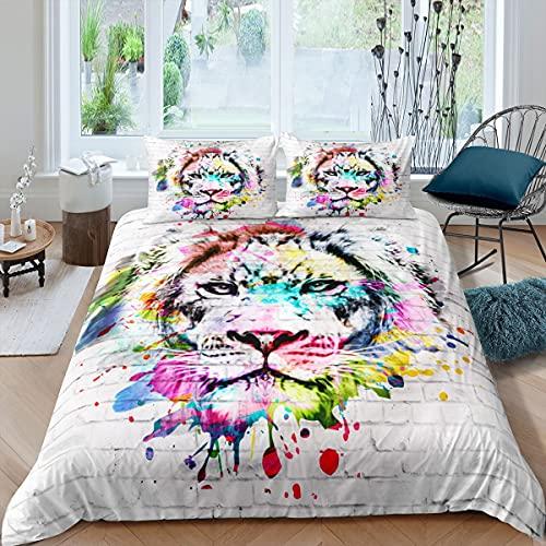 Juego de ropa de cama y lino con diseño de animales salvajes, funda de edredón estilo vida silvestre para niños, niños, niñas, safari, gato, microfibra, colcha de cama, tamaño individual