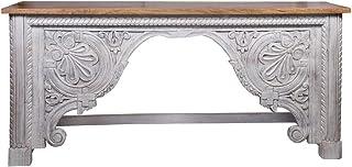 Consola oriental estrecha Galib 190 cm | Mesa consola oriental vintage tallada a mano | Aparador rústico de madera maciza ...