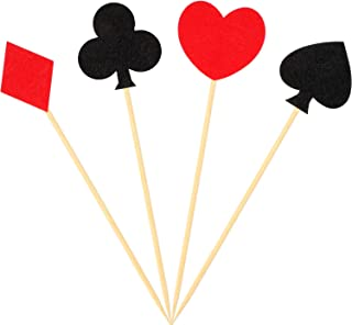 48 Pieces Poker Cupcake Toppers Playing Card Cake Toppers for Poker Theme Birthday Party Decorations