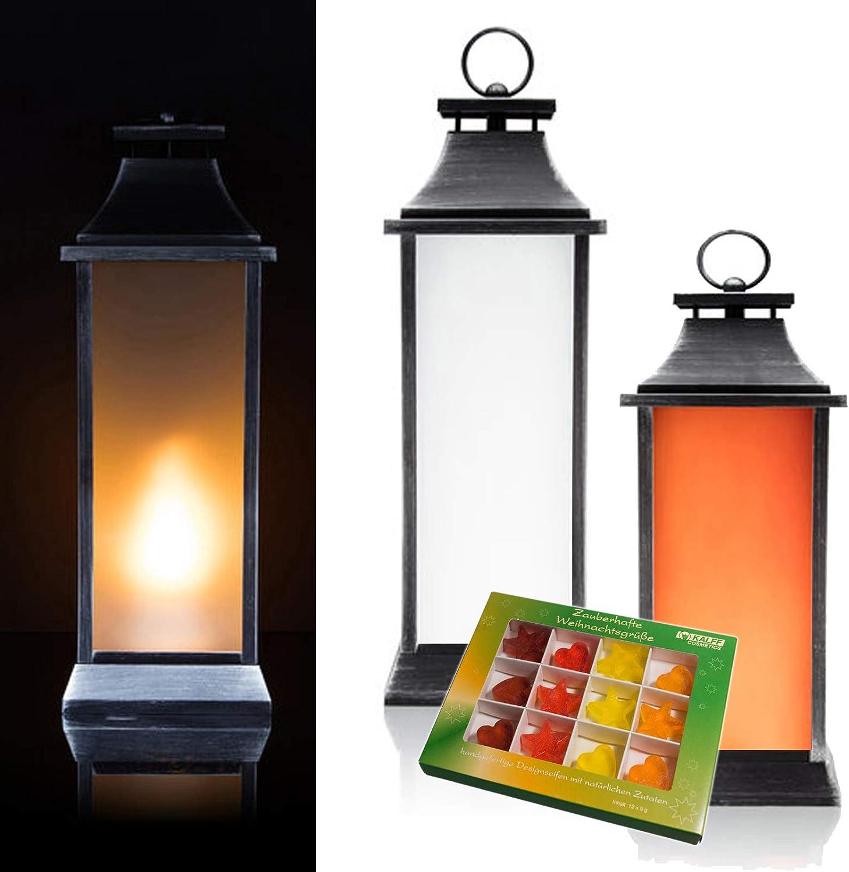 CBK-MS Outdoor Laterne mit 3 flackernden LED Kerzen und Adventsgesteck mit 4//6 Timer Batteriebetrieb