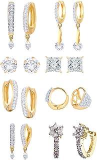 ZENEME Women's White American Diamond Gold Plated Drop Earrings Jewellery Combo of 8 (Gold)