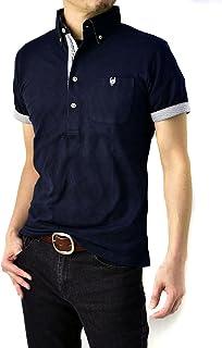 (フラグオンクルー) FLAG ON CREW ゆうパケット発送 ポロシャツ メンズ 半袖 ジャガード シャドーアーガイル ボタンダウンポロ / B0M