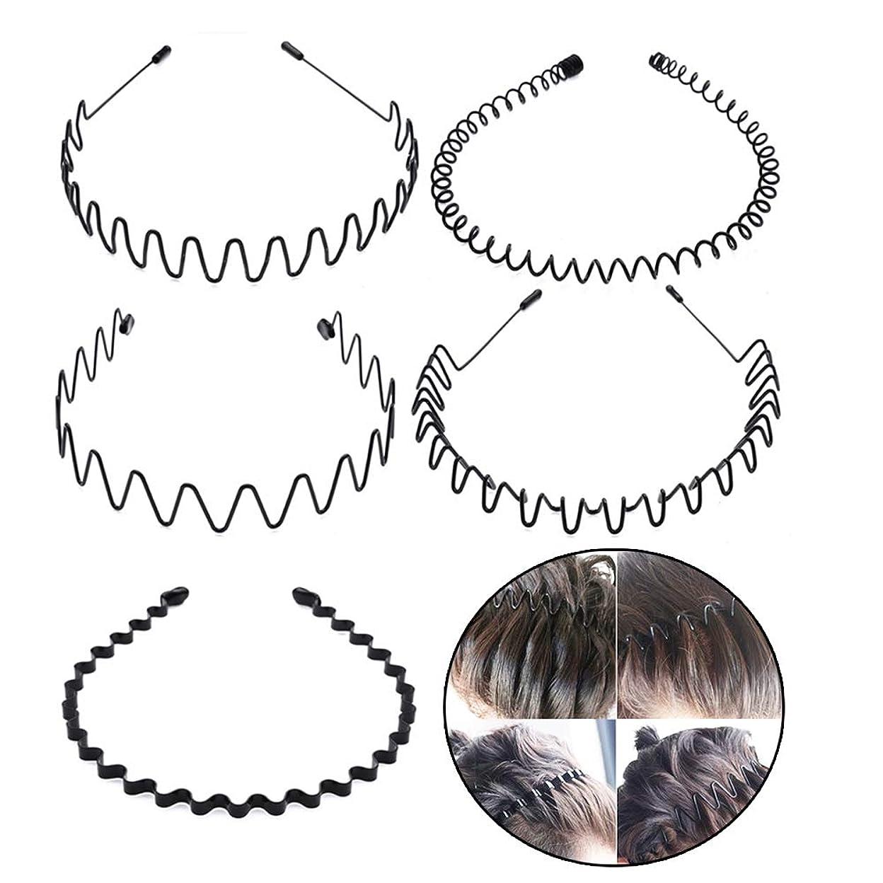 第二にカルシウム繁栄シンプル ウェーブ カチューシャ 5種類セット ヘアバンド メンズ レディース 男女兼用 髪留め ヘアアクセサリー 黒