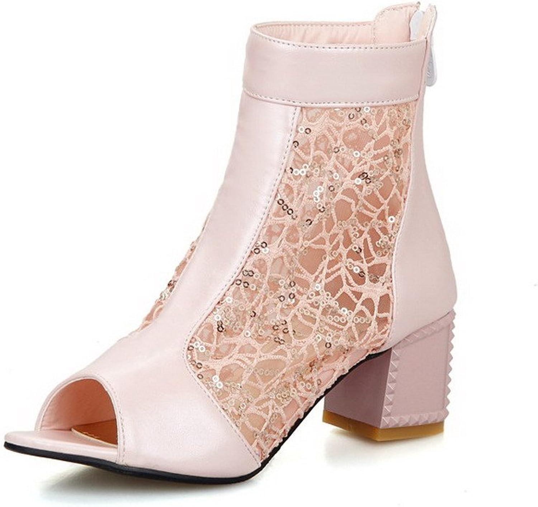 WeiPoot Women's Soft Material Zipper Open Toe Kitten Heels Solid Sandals