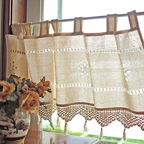 Slivercolor Scheibengardine Vorhang/Kurze Küchengardine/Kaffee Schiebevorhang/Klein Bistrogardine/Hälfte für Home Dekoration Kitchen