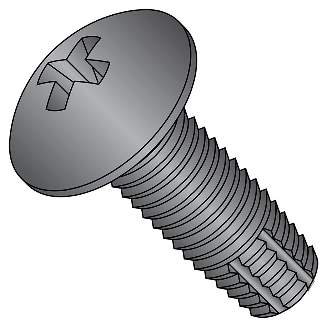 Steel Thread Cutting Screw, Black Zinc Plated, Truss Head, Phillips Drive, Type F, #10-24 Thread Size, 3/8