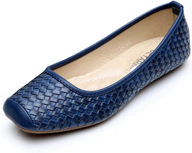 Owen Moll Women Flats, Solid Black bluee Office Ballet Loafers Single shoes