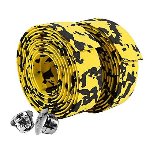 Alomejor - Nastro per manubrio bici da strada, confezione da 2 pezzi, colore: giallo e nero