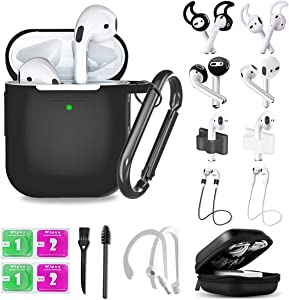 Airpods Case,16 in 1 Airpod 1&2 Accessories Set Anti-Lost Straps with Keychain/Apple Watch Band Holder/Ear Tips/Ear Hooks/Carry Case for Apple Airpods Silicone Cover Skin for Girls/Women/Men (Black)