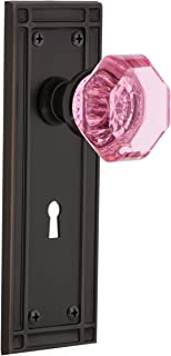 Nostalgic Warehouse 725709 Mission Plate with Keyhole Privacy Waldorf Pink Door Knob in Timeless Bronze, 2.375