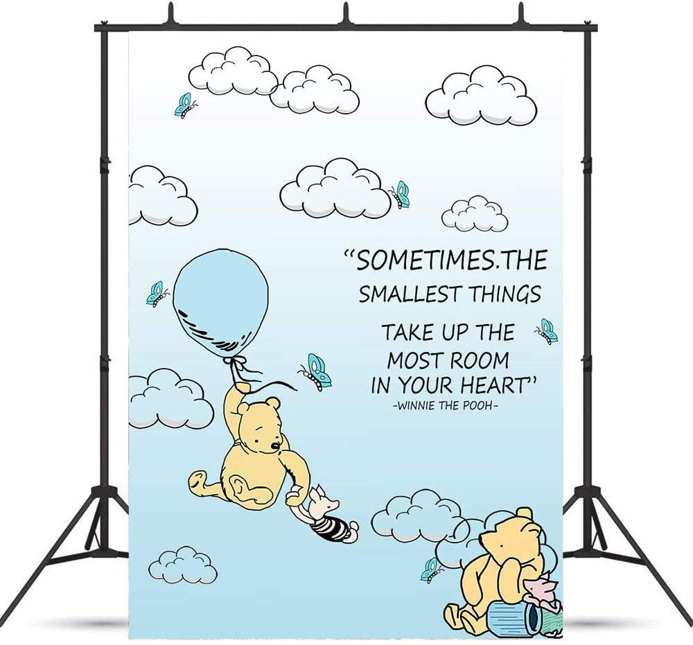 CdHBH 8x10ft Cartoon Blue Sky Cloud Hot Air Winnie The Pooh Photo Vinyl Material Portrait Clothing Photo Photography Background Cloth Festival Venue Party Arrangement Wallpaper Home Decor