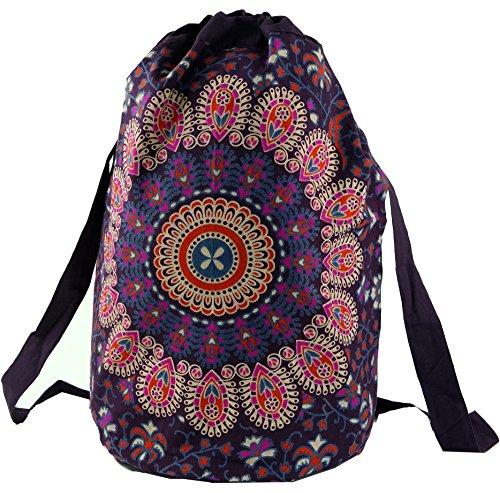 Guru-Shop Turnbeutel Rucksack, Indischer Mandala Schulterbeutel, Turnbeutel - Violett, Herren/Damen, Baumwolle, Size:One Size, 50x40x30 cm, Ausgefallene Stofftasche