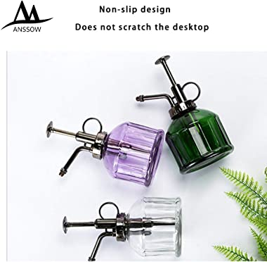 ANSSOW Transparent Glass Watering Spray Bottle,Plant Mister with Plastic Bronze Plastic Top Pump, Glass Small Watering Can fo