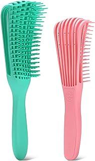 DELFINO 2 Pack EZ Detangler Brush for Natural Hair-Detangler for Afro Hair 3a to 4c Kinky Wavy, Curly, Coily Hair, Detangl...