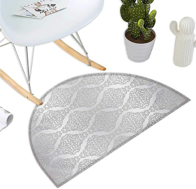 Damask Semicircular Cushion Damask Inspired Floral Motifs in Symmetrical Old Fashioned Design Swirls and Curls Halfmoon doormats H 35.4  xD 53.1  Grey White