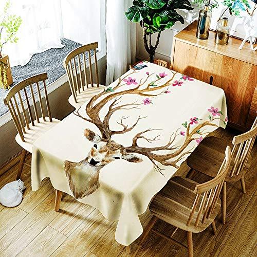 XXDD Mantel Creativo 3D Ciervo Sika y Colorido patrón de Flores Mantel cómodo Mantel Impermeable hogar A5 140x160cm