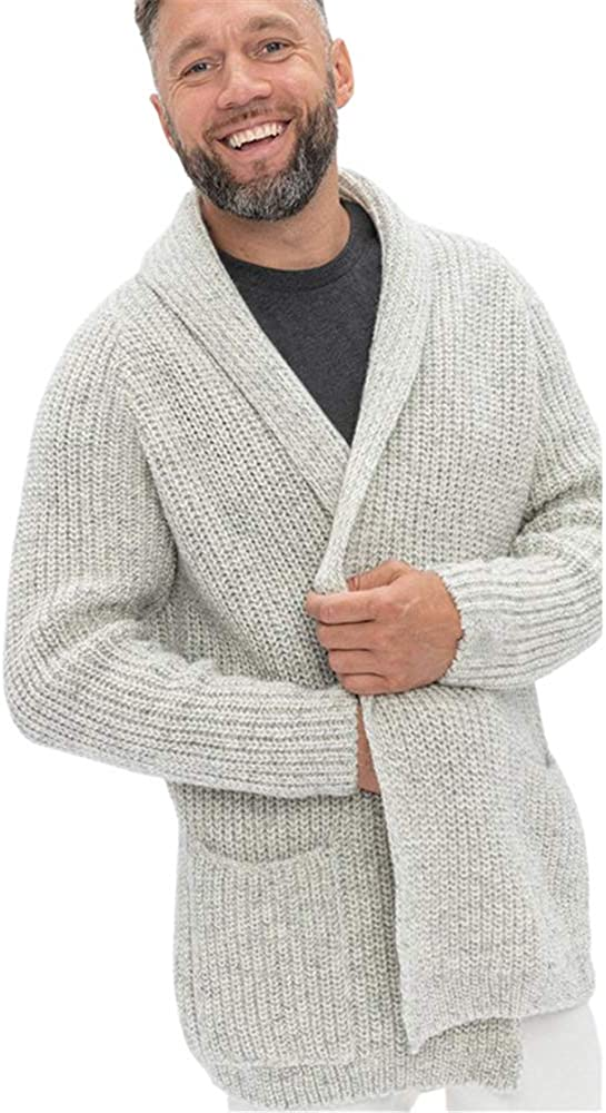 ZIWOCH Men's Shawl Collar Cardigan Casual Long Sleeve Open Front Knit Sweater Coat with Pockets at  Men's Clothing store