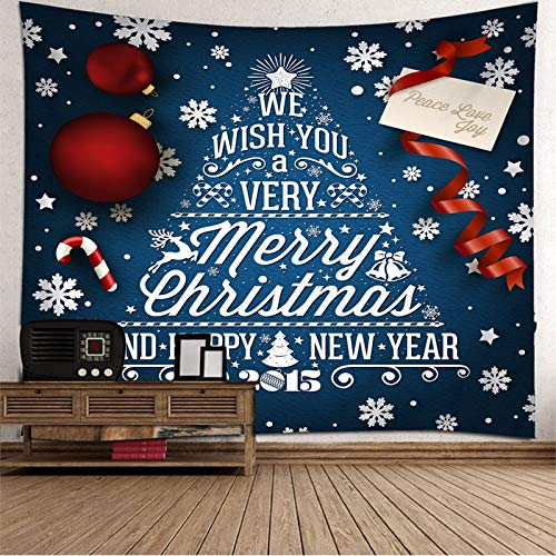 Dreamdge Christmas Theme Dorm Tapestry Christmas Tree Merry Christmas, Polyester Bedroom Wall Hanging Tapestry Size 150X150cm