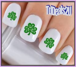 Nail Art Decals WaterSlide Nail Transfers Stickers Holiday St. Patricks Day - 4 Leaf Clover Scroll Design - Salon Quality! DIY Nail Accessories
