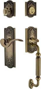 """Nostalgic Warehouse 770445 Meadows Plate F Grip with Left-Handed Manor Lever Entry Set, Backset Size: 2-3/8"""", Antique Brass"""