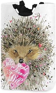 Happy Valentine Sac de panier à linge Sac à bandoulière décontracté, boîte de panier à linge hérisson Grand rangement étan...