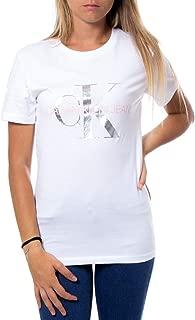 Calvin Klein Jeans Women's Metallic Monogram Slim Tee, White (Bright White/Metallic/Blossom 112), Medium