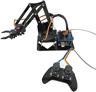 MAYiT Robotic Arm Kit, 4DOF Robot Claw for Arduino Arm Learning RC Acrylic Robotic Arm Assembly with Potentiometer Serial Port Control Servo