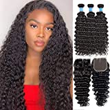Pineapple Deep Wave Bundles With Closure Middle Part (20 22 24+18) Virgin Brazilian Curly Hair Bundles With 4x4 Lace Closure Wet and Wavy Human Hair Weave Bundles With Closure Deep Curly Hair
