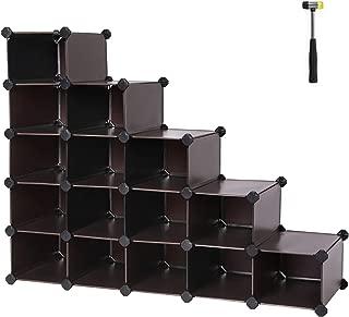 SONGMICS Shoe Rack, Space Saving 15-Cube Plastic Shoe Storage Organizer Units, Modular Cabinet, Ideal for Entryway Hallway, Bathroom, Living Room, 44.5 L x 14.2 W x 34.6 H Inches Brown ULPC44Z