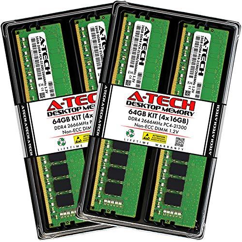 A-Tech 64GB (4x16GB) DDR4 2666MHz DIMM PC4-21300 UDIMM Non-ECC CL19 1.2V 288-Pin Desktop Computer RAM Memory Upgrade Kit